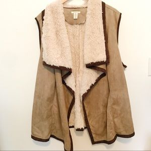 Westbound Woman Suede Like Lined Taupe Vest 3X EUC
